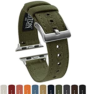 BARTON Canvas Apple Watch Bands - Army Green - For 42mm Apple Watch, Watch 2 & Watch 3