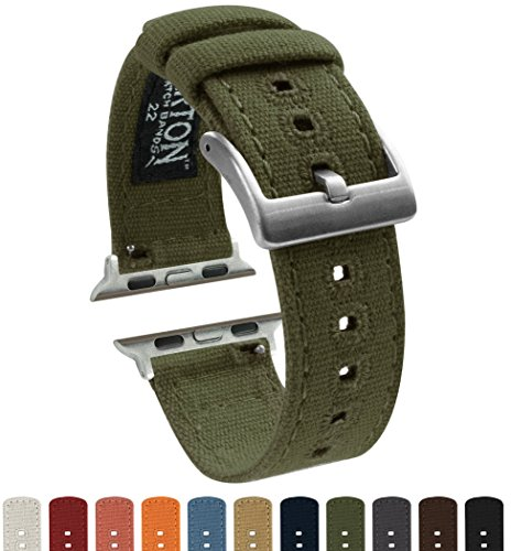 Barton Canvas Watch Bands - Choose Color - Compatible with All Apple Watches - 38mm, 40mm, 42mm, 44mm - Army Green - Band Canvas