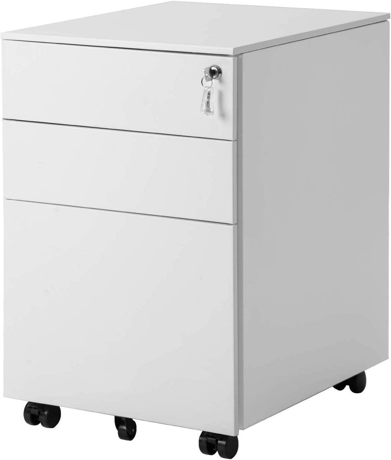 MIERES 3 Drawer Cabinet File Cabinet Mobile Metal Black Cabinet with Drawers with Lock Under Desk Fully Assembled Except for 5 Castors
