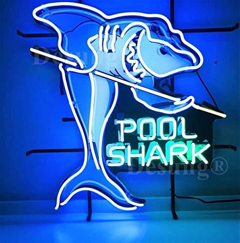 "Desung 24""x20"" Pool Shark Table Billiards Neon Sign Light HD Vivid Printing Tech Handmade Man Cave Beer Bar Pub Lamp VD34"