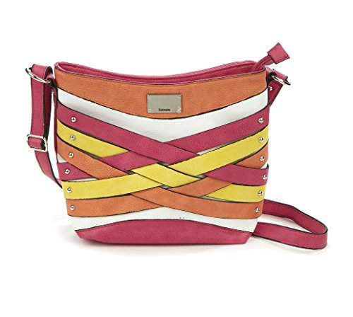 Kensie Axoti Neutral Colored Crossbody Purse for Women - Side Purse Made of Faux Leather with Zipper Tassel Detail - Top Zip Closure, Bright Multi Colored (Detail Purse)