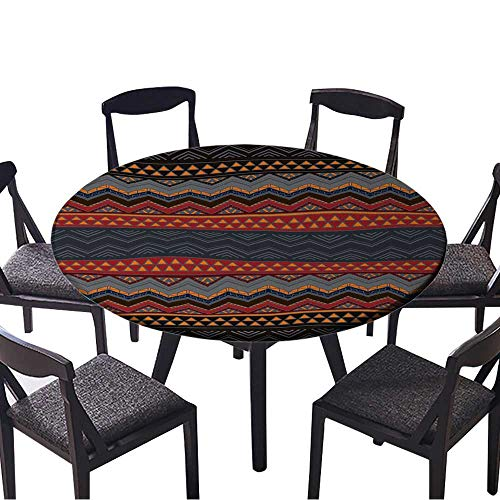 Picnic Circle Table Cloths Boho Style Seamless Pattern Hand Drawn Aztec Wallpaper for Family Dinners or Gatherings 63