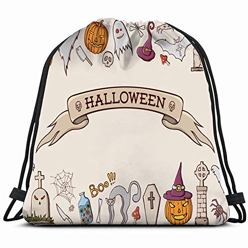 (color cartoon shapes on halloween themeart holidays 3D Print Drawstring Backpack Rucksack Shoulder Bags Gym Bag 17X14)