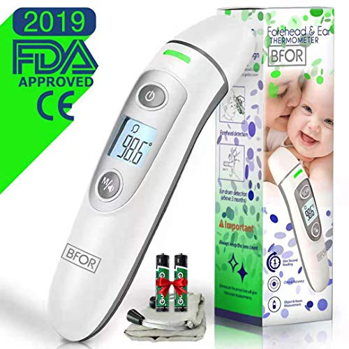 BFOR55 New Tech Infrared Temporal Digital Thermometer for faver,(Fahrenheit and Celsius) Suitable for Baby  Kids  Adults and Infant Forehead Ear or Oral Temperature Instant. FDA/CE Approved. ()