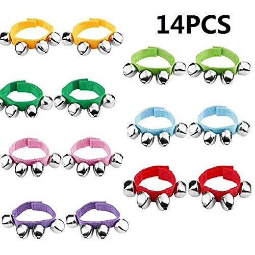 14PCS Wrist Band Jingle Bells,Wrist Band Jingle Bells Musical Rhythm Toys,7 Colors,Children's Instruments for School