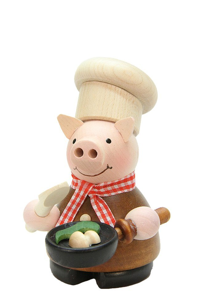 German Incense Smoker - Lucky Pig Cook natural - 10cm / 4 inch - Christian Ulbricht