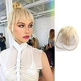 Shinon Bangs Hair Clip on Bangs Human Hair Extension Wispy Bangs Blonde Color Hair Fringe