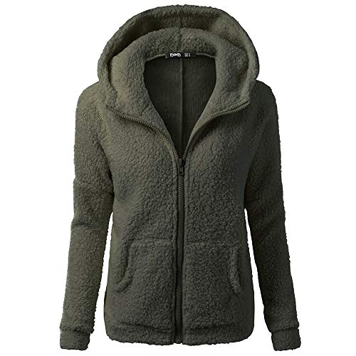 COPPEN Women Coat Hooded Sweater Winter Warm Wool Zipper Cotton Outwear