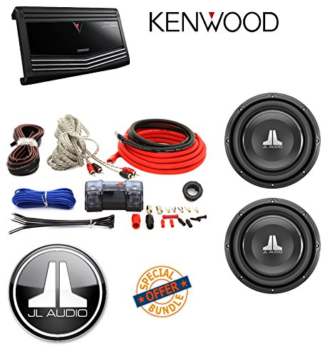 "Kenwood KAC-9106D 2000 Watt Monoblock Class D Power Amplifier Amp W/ Cerwin Vega - CAK4 ANL Fuse Holder 100amp Kit+JL Audio 10"" Single 4-Ohm W1v3 Series Subwoofer"