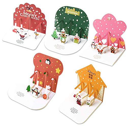 Tullofa Christmas Cards - 3D Christmas Cards, 24 Set Mini Pop Up Greeting Holiday Cards with White Envelopes, Gifts for Xmas/New Year, Children Favor