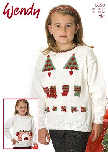 Wendy Childrens Christmas Sweater Knitting Pattern 5596 Dk Amazon