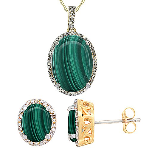 10K Yellow Gold Genuine Oval Malachite Stud Earrings Diamond Halo Necklace Set Oval 8x6mm & - Malachite Oval Necklace