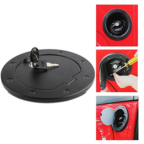 Non fading Black Fastness Gas Cap Fuel Filler Door Cover Moonet Powder Coated Steel Gas Fuel Tank Gas Cap Cover Accessories for 2007-2018 Jeep Wrangler JK & Unlimited Sport Rubicon Sahara with Lock