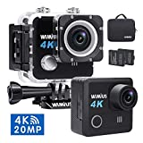 WiMiUS Action Camera 4K HD Sports Camcorder 40M Underwater Cameras WiFi Waterproof Cam 170° Wide Angle Sony Sensor 2' LCD Screen 2 Rechargeable Batteries and Accessories Kits, L2, Black