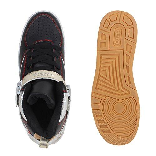 Cultz Herren Basketballschuhe Profil Sohle Sportschuhe Sneakers Flandell Schwarz Silber Brooklyn