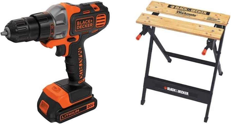 BLACK+DECKER 20V MAX Matrix Cordless Drill/Driver with Workmate Portable Workbench, 350-Pound Capacity (BDCDMT120C & WM125)