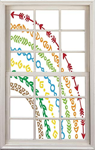 3D Window Decal Wall Sticker,Ethnic Native Tribal Arrow and Leaf Patterns,Home Decor Stickers (Pattern Uconn)