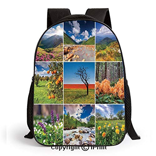 Collage with Summer Scenery Majestic Mountains Waterfalls High Lands Environment Print School Backpacks For Girls Kids Elementary School Bags Bookbag,Multicolor