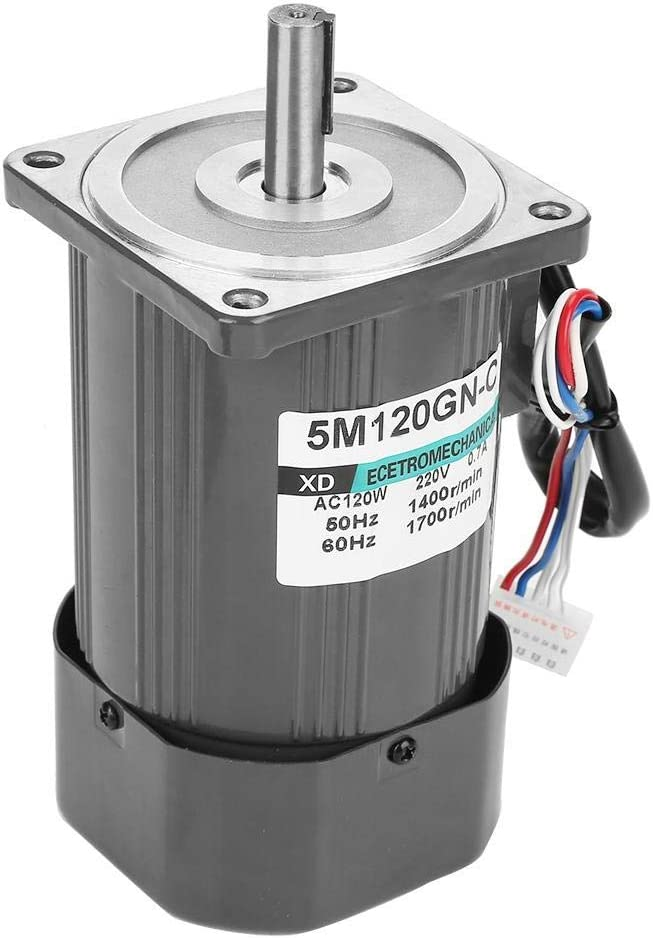 AC220V 120W 1400rpm CW//CCW Self-Locking Worm Adjustable Rate Gear Motor with Governor for Industrial Devices Home Applications WXQ-XQ Reduction Gear Motor 5K