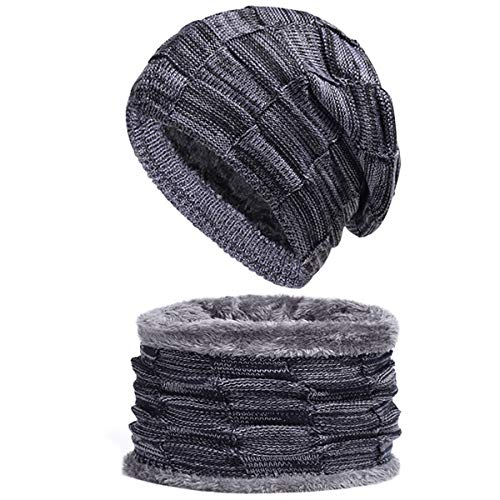 (Spikerking Mens Winter Knitting Wool Warm Hat Daily Slouchy Hats Beanie Skull Cap (One Size, Navy(hat+Scarf)))