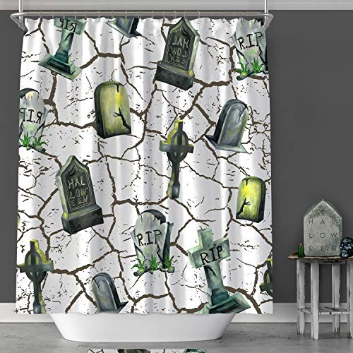 MACOFE Shower Curtain 3D Shower Curtain Halloween Christmas Decorations Mildew Resistant Polyester Fabric, Waterproof,Hooks Included, Original Design Hand Drawing,71x71in (White Tombstone)