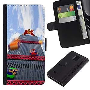 APlus Cases // Samsung Galaxy Note 4 SM-N910 // Burro italiano Plomero retro Pc Juego // Cuero PU Delgado caso Billetera cubierta Shell Armor Funda Case Cover Wallet Credit Card