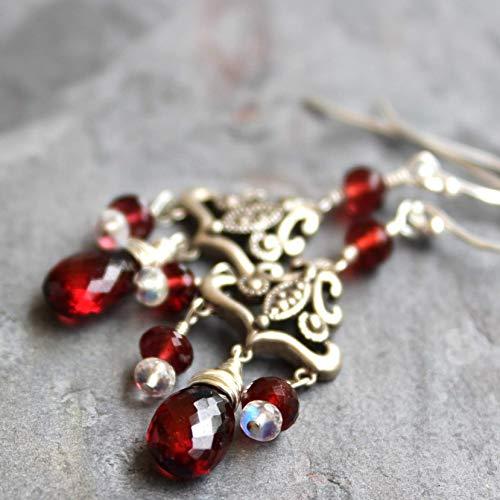 Chandelier Garnet Earrings Sterling Silver Art Deco Marcasite Red Gemstone
