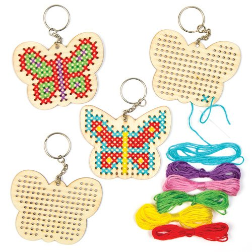 Baker Ross Butterfly Cross Stitch Wooden Keyring Kits (Pack of 6) For Kids To Decorate, Arts and Crafts