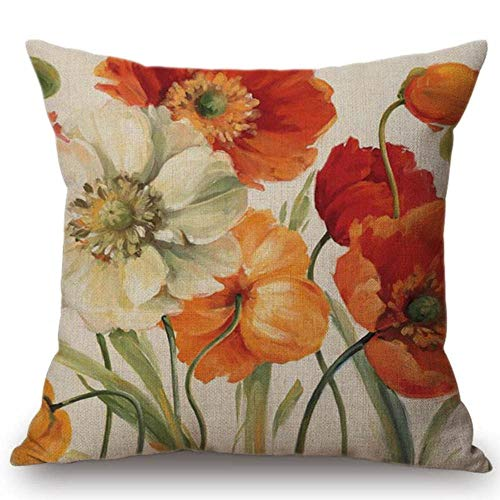 "YaMiFan Watercolor Retro Flower Home Decorative Pillow Cover for Sofa Vintage Rose Lily Cotton Office Chair Cushion Cover S149-13 18""x18"""