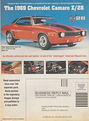 Coupe Franklin Mint (1969 CHEVROLET CAMARO Z/28 SPORT COUPE & CORVETTE WATCH in 1999 FRANKLIN MINT COLOR AD FOLDER - USA - FABULOUS VINTAGE ORIGINAL !!)