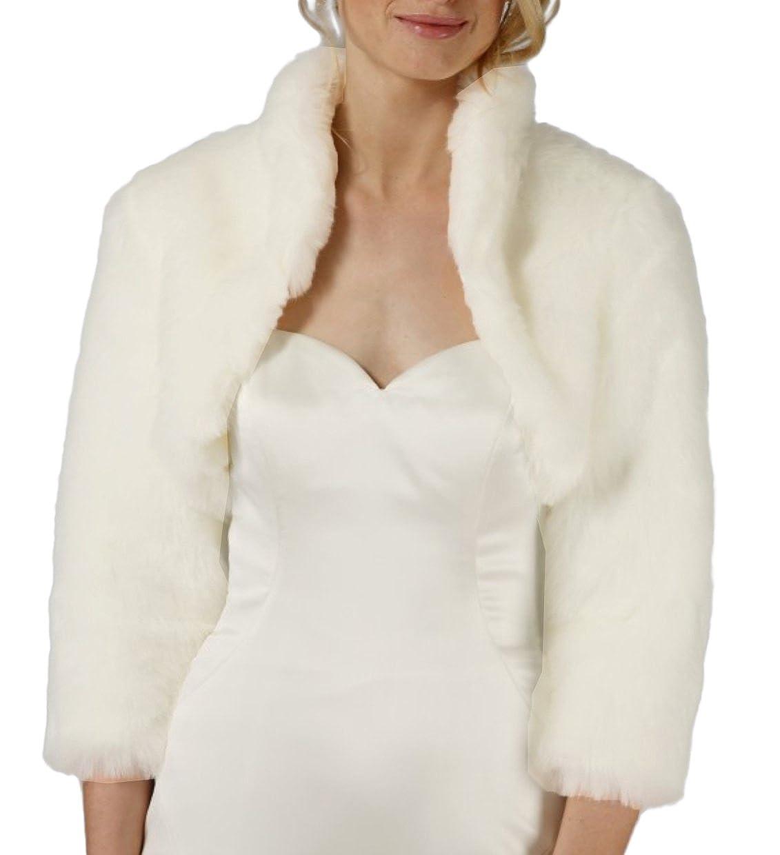 Flora IVORY Faux fur 3/4 Long Sleeve Bridal Shrug/Wedding Bolero/Collar Jacket