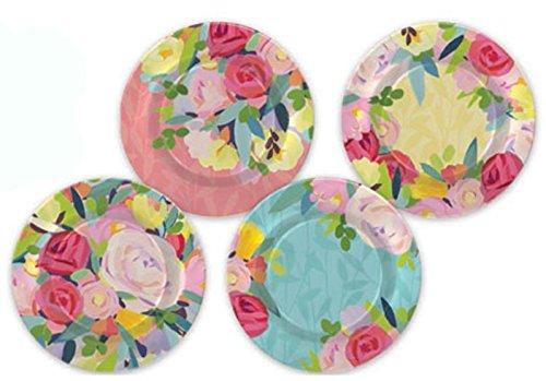 Punch Studio Floralie Boxed Set of 4 Melamine Plates (44337)