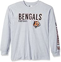 NFL Cincinnati Bengals Unisex Long Sleeve Two Hit Tee, Heather Grey, X-Large Tall