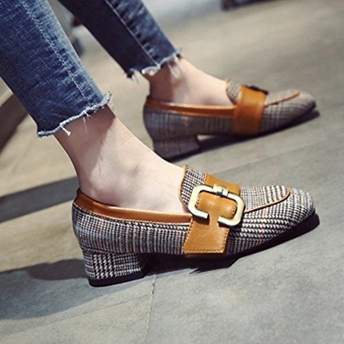 GIY Womens Classic Buckle Pumps Loafers Square Toe Slip-On Block Heel Dress Penny Loafer Oxford Shoes Tan Gxy2oxe