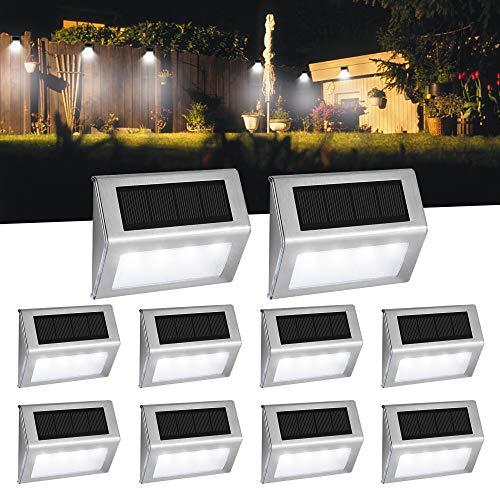 Easternstar Solarlampen op zonne-energie, 4 leds, waterdicht, voor buiten, muur, terras, omheining, balkon, trap…