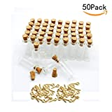 JKLcom 1ML Small Mini Tall Clear Glass Bottles/Jars with Corks Stoppers for Arts & Crafts, Projects, Decoration, Party Favors+ 50 Pcs Gold Metal Eye Hook Pin Screws ,50 Pcs