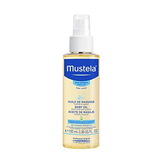 Mustela Baby Oil, Moisturizing Oil for Baby Massage, with Natural Avocado Oil, Pomegranate and Sunflower Seed Oil