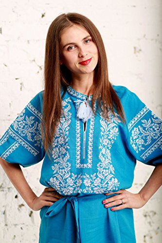 Vestido Vestido bordado un ruso rojo Vyshyvanka Brodee azul ucraniano rqY7r