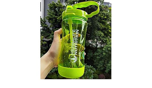 caomei 1000m1L Espacio portátil de Moda Verde Herbalife nutrición Personalizada coctelera con Pajita Botella de Agua