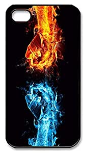 iPhone 4 4s Cases & Covers - Blue And Red Fire Fist Custom PC Soft Case Cover Protector for iPhone 4 4s - Black