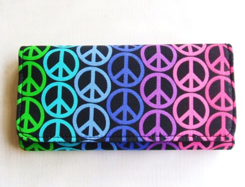 Peace Sign Multi Color Cotton Tri Fold Clutch Wallet