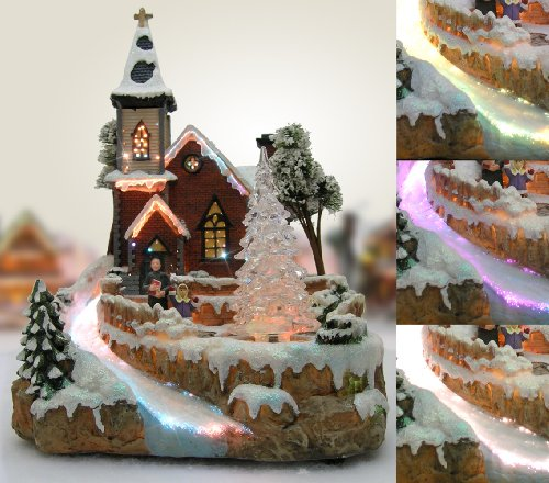 Christmas Snow Village Fiber Optic Church Chapel Winter Collectible by Banberry Designs