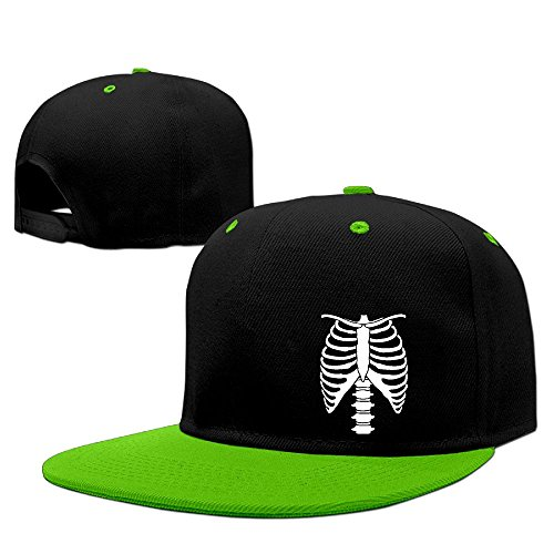 Halloween Skeleton Adjustable Contrast Color Hip Hop Flat Brim Baseball Hat (Space Cowboy Costume Ideas)