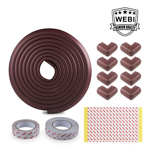 Price comparison product image Table Edge Protector,  WEBI [16.4ft Edge+8Corners+2Tapes] Kids Child Safety Corner Guard Long Cushion Furniture Bumper Baby Proofing Home Kit for Coffee Desk Fireplace Hearth Counter Top, Coffee Brown