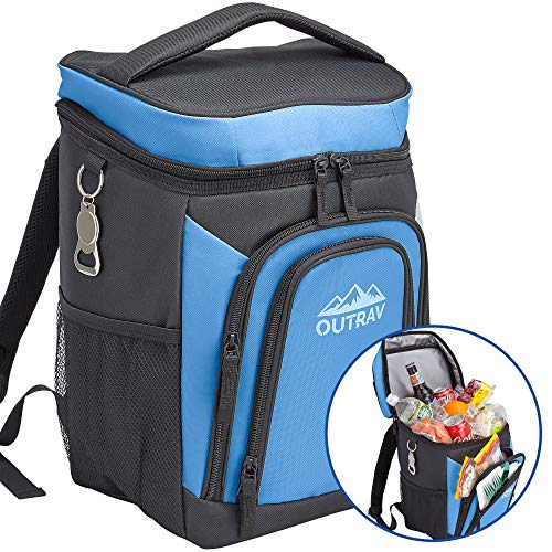 Outrav Blue Backpack Cooler Bag with Bottle Opener - Fully Insulated Thermal 16 Can Tote - Padded Back and Shoulder Strap - Front Zipper and Mesh Water Bottle Pockets