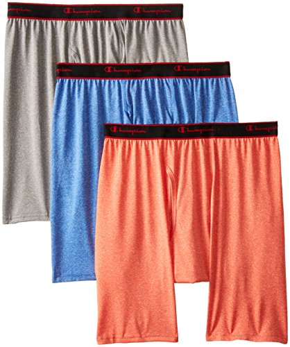 Ball Gargoyle (Champion Men's 3-Pack Active Performance Long Leg Boxer Briefs, Poinciana/Athens Blue/Gargoyle Heathers, Medium)