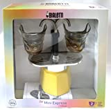 Bialetti: Set Mini Express Colour 2-Cups YELLOW + 2 Bialetti Transparent Coffee Glasses with Yellow Bottom [ Italian Import ]