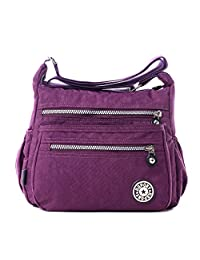 Tibes Fashion Women Nylon Shoulder Bag Waterproof Crossbody Purse Organize Travel Messenger Bag Purple