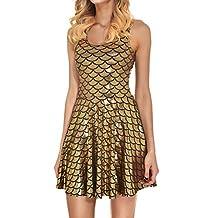 YAN Girl Mermaid Dress Shinning Scale Pleated Skirt Pinafore Dress