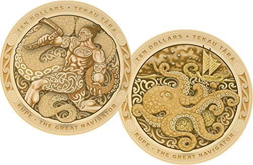 KUPE Great Navigator Octopus Tekau Tara Set 2 gold Coins 10  New Zealand 2019